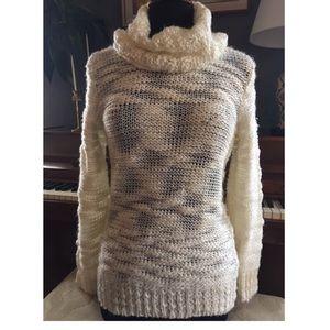 Olivia Sky Cream Sweater with Oversized Turtleneck